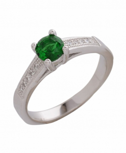 CZ Single Line Green Stone Ring