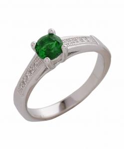 CZ Single Line Green Stone Ring