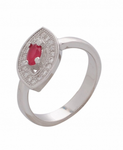 CZ Curved Red Stone Ring