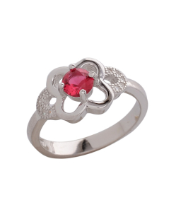 CZ Butterfly Red Stone Ring