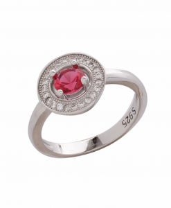 CZ Double Circle Red Ring