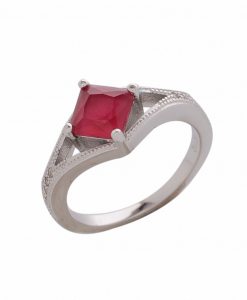 CZ Red Square Ring