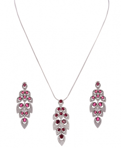 CZ Leaf Pendant Set in Pink