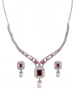 Beautiful Cubic Zirconia Necklace Set with pink stones