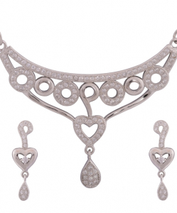 Cubic Zirconia Necklace Set with Heart Shaped Earrings