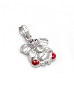 CZ Red Ganesha Pendant