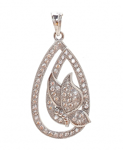 CZ Oval Double Line Butterfly Pendant