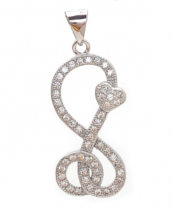 CZ Eight Pendant with Heart and Circle