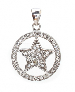 CZ Circle and Star Pendant