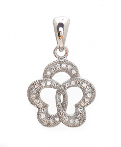 CZ Two Heart Joint Pendant