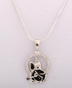 CZ Ganesha Pendant in Black