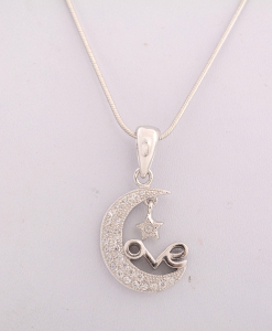 CZ Moon and Star pendant