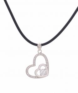 CZ Beautiful Double Heart Pendant