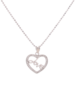 CZ Love Heart Pendant in Silver Chain