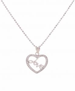 CZ Love Heart Pendant in Silver Chain