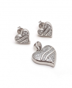 CZ Heart Pendant Set with Heart Shaped Earrings