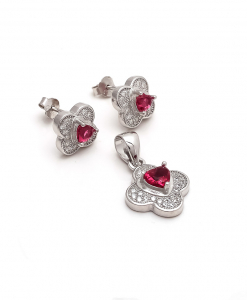 CZ Flower Pendant Set with red Stone