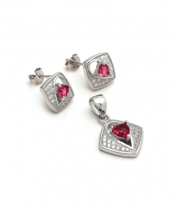 CZ Red Square Pendant Set