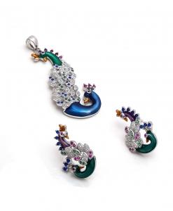 CZ Multicolor Double Peacock Pendant Set