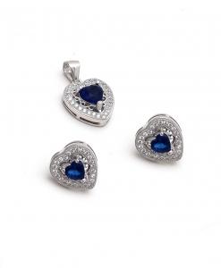 CZ Blue Heart Pendant Set