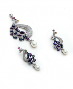 CZ Blue Peacock Set with Pearl