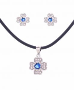 CZ Flower Blue Pendant Set