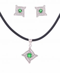 CZ Square Green Stone Pendant Set