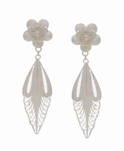 Filigree Hanging Flower and Leaf Earring