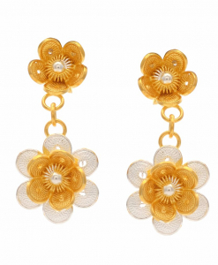 Filigree Two Tone Double Flower Hanging Earring
