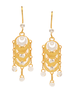 Filigree Two Tone Hanging Earring
