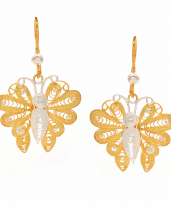 Filigree Two Tone Butterfly Hanging Earring