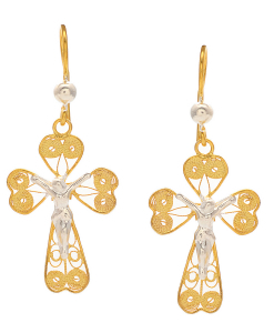 Filigree Two Tone Jesus Hanging Earring