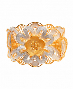 Filigree two Tone Flower Bangle