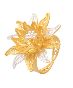 Filigree Two Tone Flower Ring