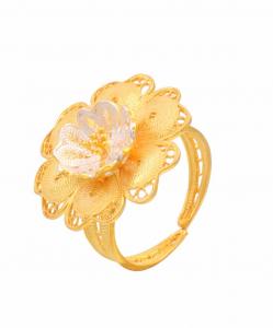 Filigree Two Tone Flower Ring
