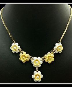 Filigree Exclusive Two Tone Flower Droplet Necklace