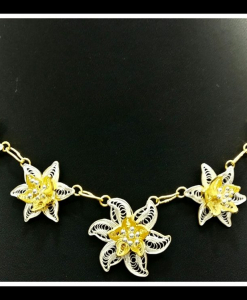 Filigree Exclusive Two Tone Flower Necklace Chain