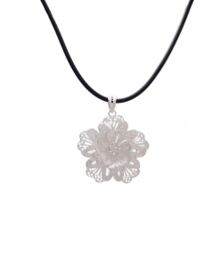 Filigree Flower Pendant in Black Chain