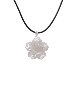 Filigree Flower Pendant in Black Chain