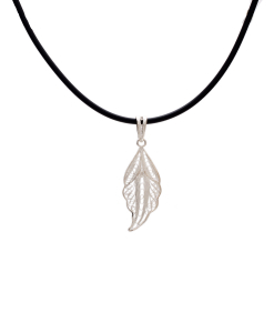 Filigree Leaf Pendant in Black Chain