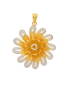 Filigree Two Tone Flower pendant