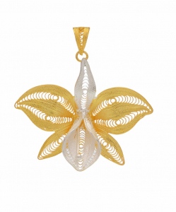 Filigree Two Tone Butterfly Pendant