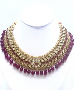 Red Silver Kundan Choker Necklace