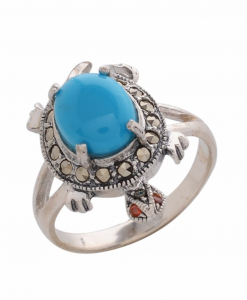 Marcasite Blue Stone Ring