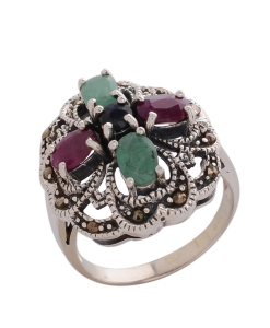 Marcasite Multicolored Stone Ring