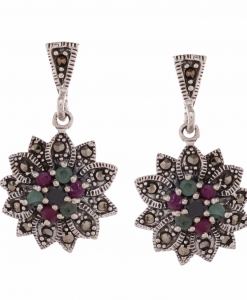 Marcasite Multicolor Flower Earring