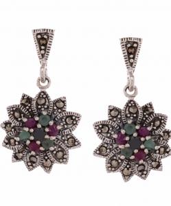 Marcasite Multicolor Flower Earring