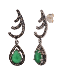 Marcasite Green Stone Hanging Earring