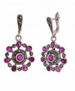 Marcasite Purple Stone Hanging Earring