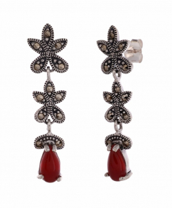 Marcasite Red Stone Hanging Earring